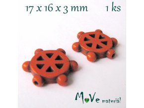 Kormidlo howlitové 17x16x3mm, 1ks, oranžové