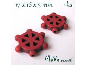 Kormidlo howlitové 17x16x3mm, 1ks, červené