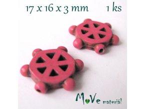 Kormidlo howlitové 17x16x3mm, 1ks, růžové