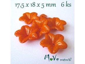 Akrylový květ 18mm - lesklý, 6ks, oranžový
