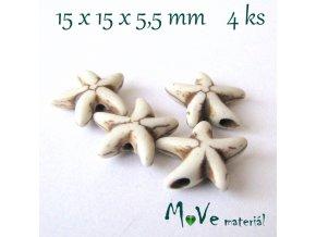 Hvězdice howlitová 15x15x5,5mm, 4ks, béžová
