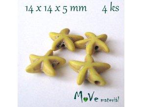 Hvězdice howlitová 14x4x5mm, 4ks, žlutá