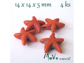 Hvězdice howlitová 14x4x5mm, 4ks, oranžová