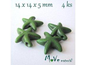 Hvězdice howlitová 14x4x5mm, 4ks, zelená