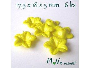 Akrylový květ 18mm - lesklý, 6ks, žlutý