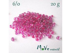 Rokajl 6/0, 20 g, růžový průvlek
