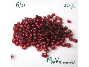 Rokajl 6/0, 20 g, červený průvlek