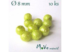 """Voskové perle """"Zigana"""" 8mm, 10ks, žlutozelené"""