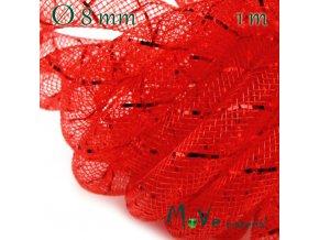 Modistická dutinka s lurexem 8mm, 1m, červená