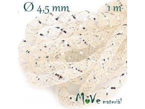 Modistická dutinka s lurexem 4,5mm, 1m, krémová