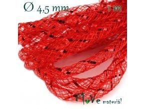 Modistická dutinka s lurexem 4,5mm, 1m, červená
