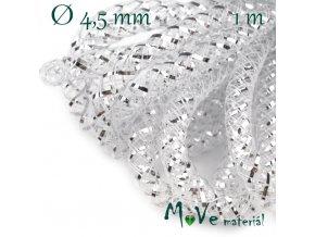 Modistická dutinka s lurexem 4,5mm, 1m, stříbrná