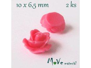 Kabošon květ lesklý C4 - resin - 2ks, růžový