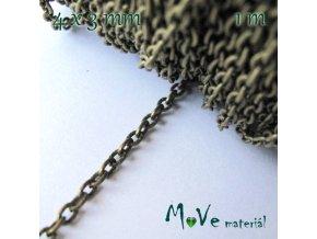 Řetízek kovový šíře 4x3mm, délka 1m, staromosazný