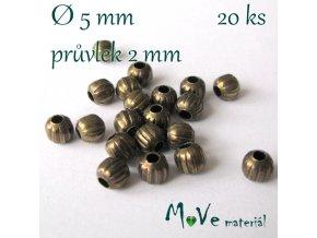 Korálek kovový vroubkovaný 5mm/20ks, staromosazný