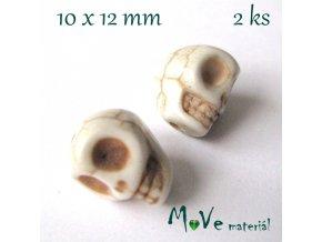 Howlitová lebka 10x12mm, 2ks