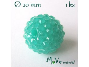 Pryskyřičný korálek - kulička 20mm,1ks, mátový
