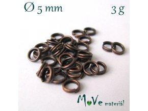 Dvojitý kroužek průměr 5mm, 3g/cca 34ks, staroměď