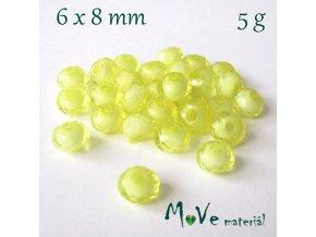 Korálek plast rondelka 6x8mm/5g, žlutý