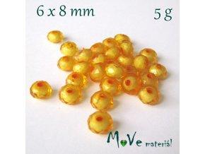 Korálek plast rondelka 6x8mm/5g, sv. oranžový