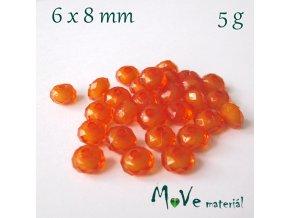 Korálek plast rondelka 6x8mm/5g, tm. oranžový