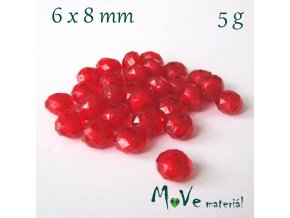 Korálek plast rondelka 6x8mm/5g, červený