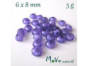 Korálek plast rondelka 6x8mm/5g, fialový
