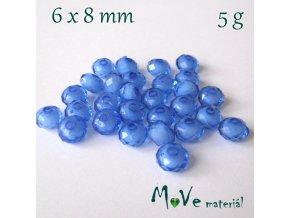 Korálek plast rondelka 6x8mm/5g, modrý