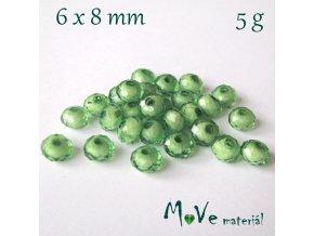 Korálek plast rondelka 6x8mm/5g, zelený
