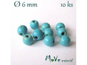Korálky syntetický tyrkenit 6mm, 10ks, tyrkysový