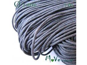 Šňůra voskovaná bavlněná 2mm/1m, šedá