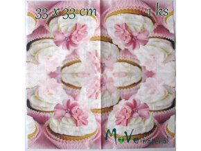 Ubrousek na decoupage 33 x 33cm 1ks, cupcake