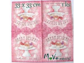 Ubrousek na decoupage 33 x 33cm 1ks, dortíčky