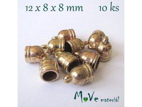 Koncovka 12x8mm, 10ks, zlatá, II. jakost