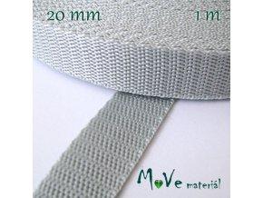 Popruh polypropylénový šíře 20mm, 1m, šedý