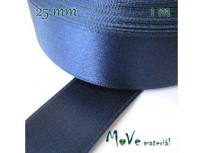 Stuha atlasová jednolící 25mm, 1m, nám. modrá