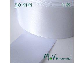Stuha atlasová jednolící 50mm, 1m, bílá