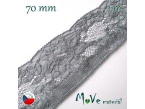 Krajka syntetická 70mm, 1m, šedá
