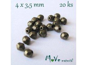 Korálek kovový 4x3,5mm/20ks, staromosazný