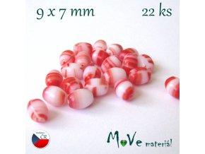 České olivky 9x7mm 22ks, červené žíhané