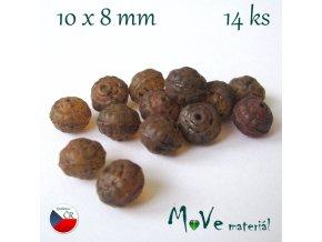 České korálky 10x8mm 14ks, hnědé
