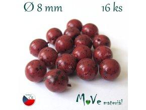 České voskové perle 8mm/16ks, žíhané