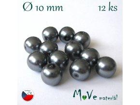 České voskové perle 10mm, 12ks, šedé
