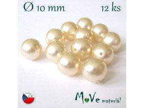 České voskové perle 10mm, 12ks, krémové