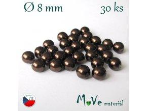 České voskové perle 8mm 30 ks, čokoládové