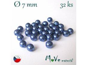 České voskové perle 7mm, 32 ks, modré