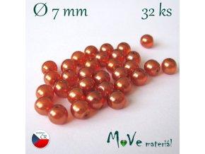 České voskové perle 7mm, 32 ks, oranžové
