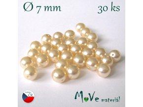 České voskové perle 7mm, 30 ks, krémové