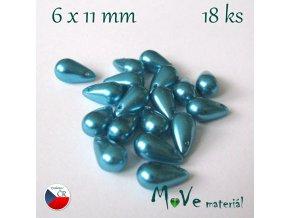 České voskové perle kapky 11x6mm 18ks, tyrkysové