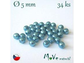 České voskové perle 5mm, 34ks (cca 5g), tyrkysové